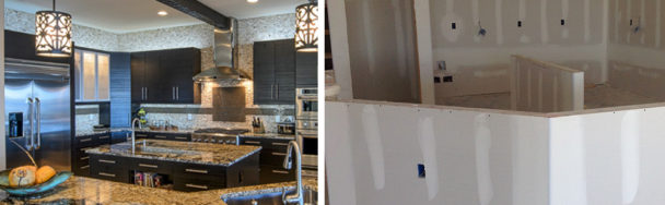This shows kitchen design before and after with cabinetry, lighting, granite countertops, and accent tile