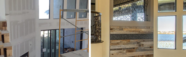 This image shows a custom fireplace of a new construction design that uses reclaimed wood and was built by the homeowners